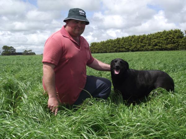 Neil Martin and his dog Bridget in a Knight Italian Ryegrass pasture